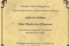 Podziękowania od dyrekcji szkoły dla sołtysa W. Klimasa za osobiste zaangażowanie.